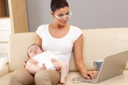 Mom with Baby and Laptop