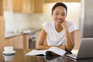 Female Student Studying at Home